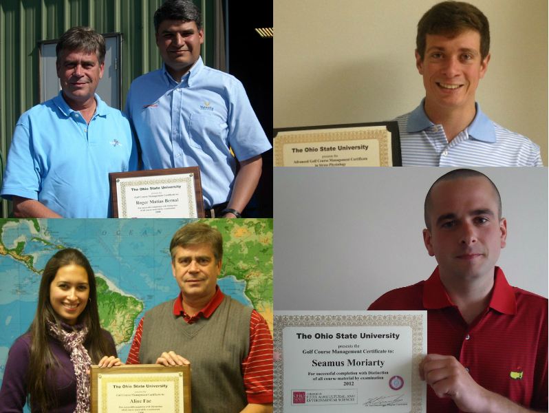 Graduates of golf management certificate programs pictured with certificates and Dr. Karl Danneberger.